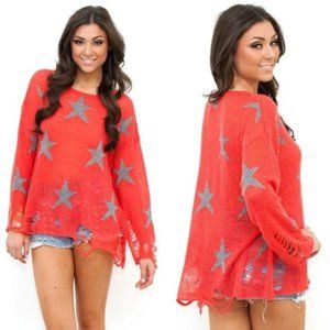 Wildfox Seeing Stars Distressed Lennon Sweater